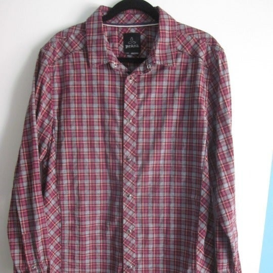 prAna Mens Flannel Plaid Organic Shirt L