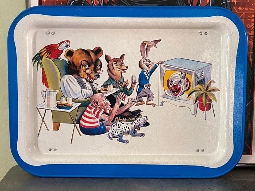 1950's Metal TV Tray Animals Clowns