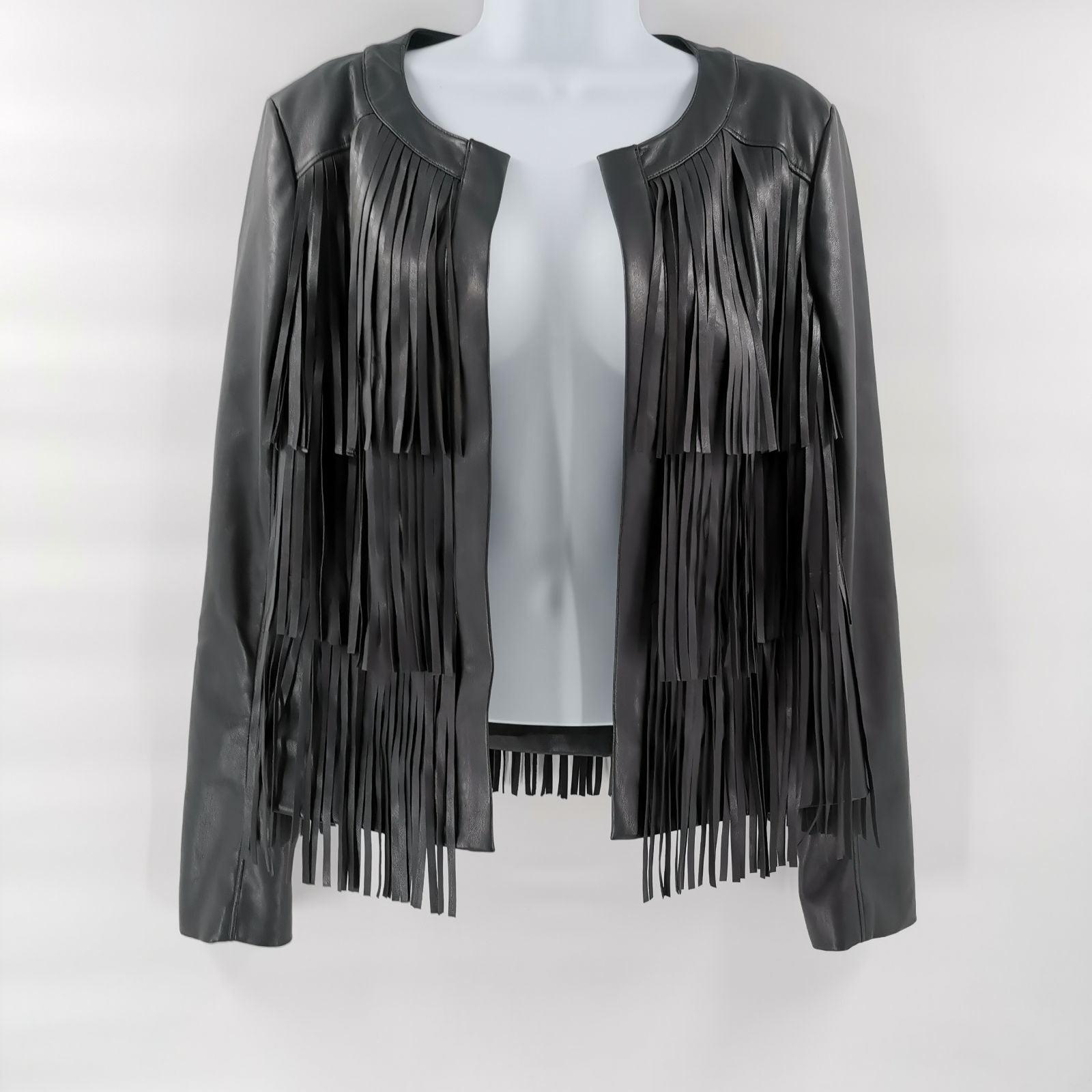 Vegan Leather Fringe Jacket