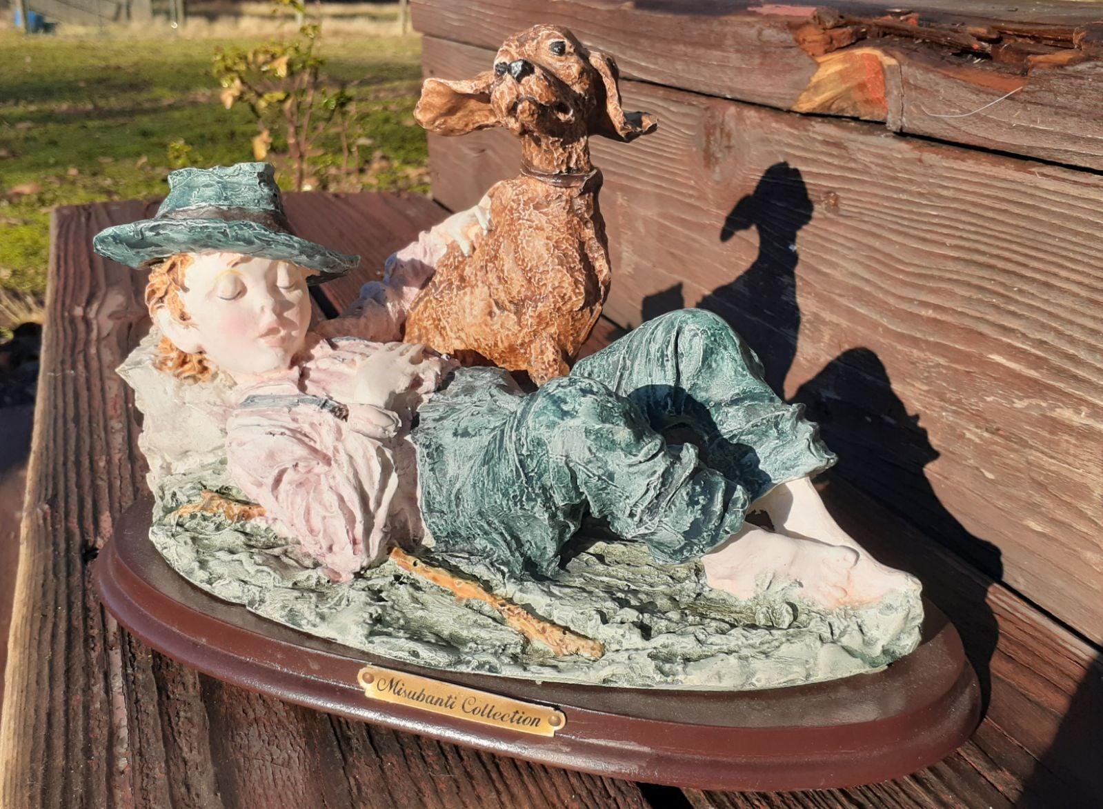 Misubanti Sleeping Boy & Dog Figurine
