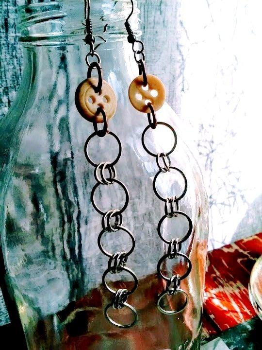 Bone Button Silver Copper Chain Earrings