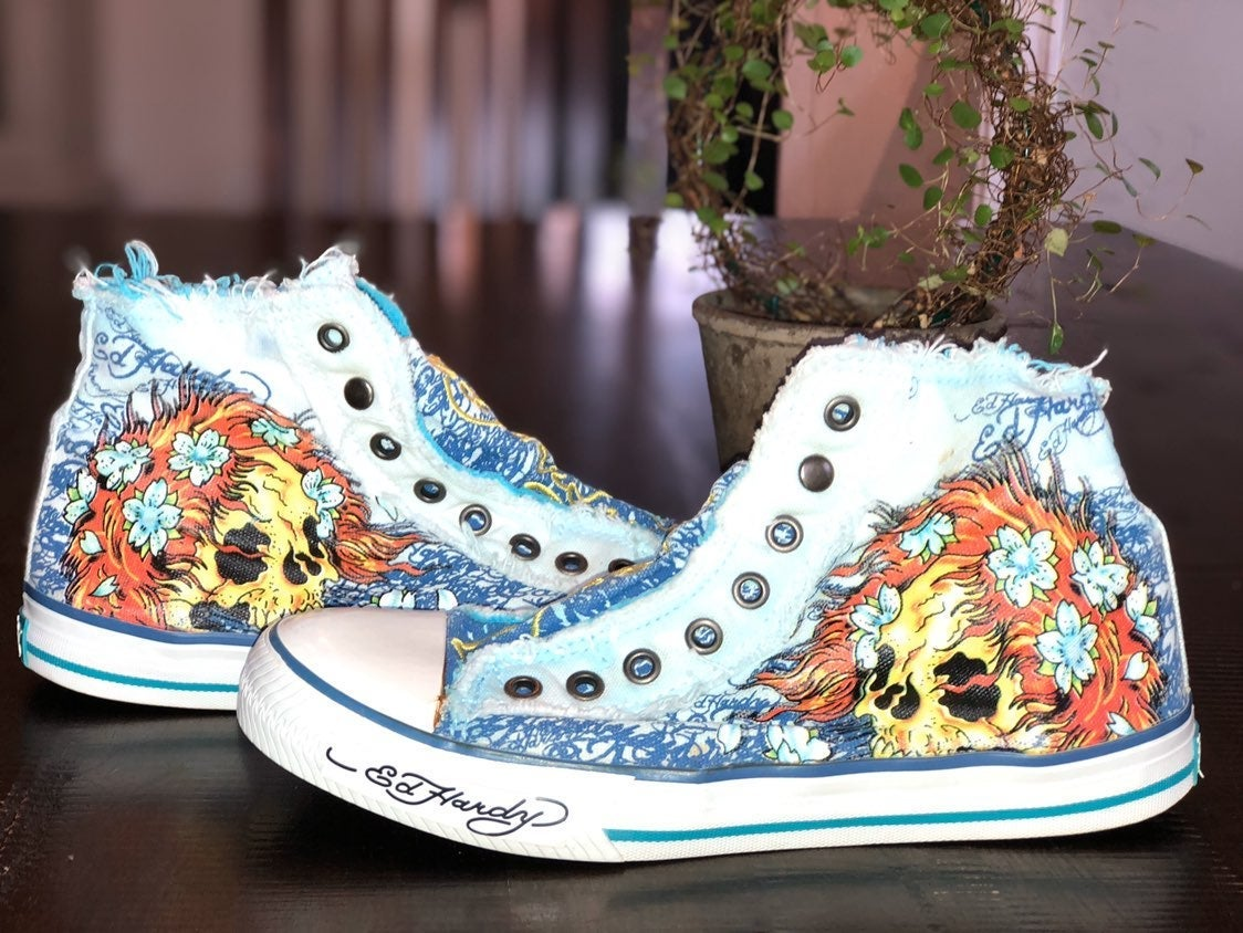 Ed Hardy high top tennis shoes