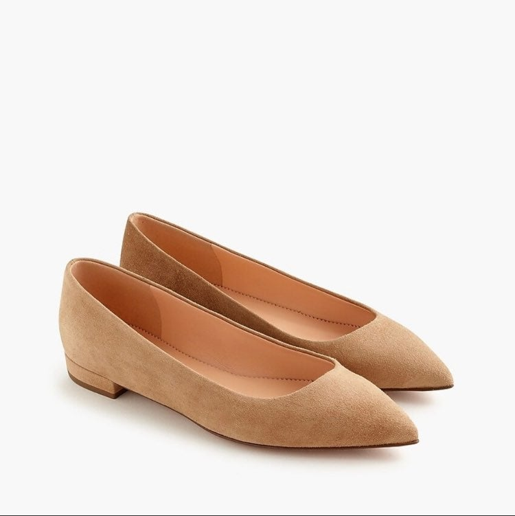 J.Crew Pointed-Toe Flats in Suede