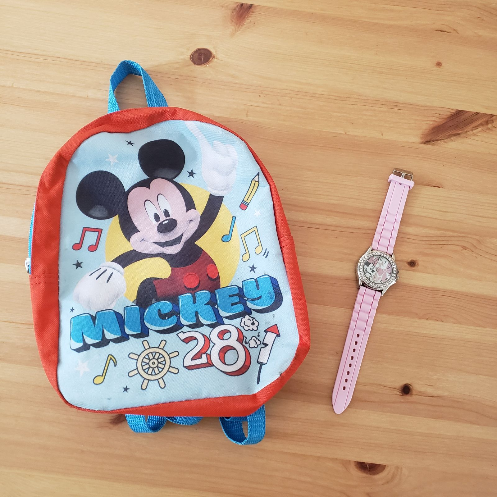 Disney backpack and watch