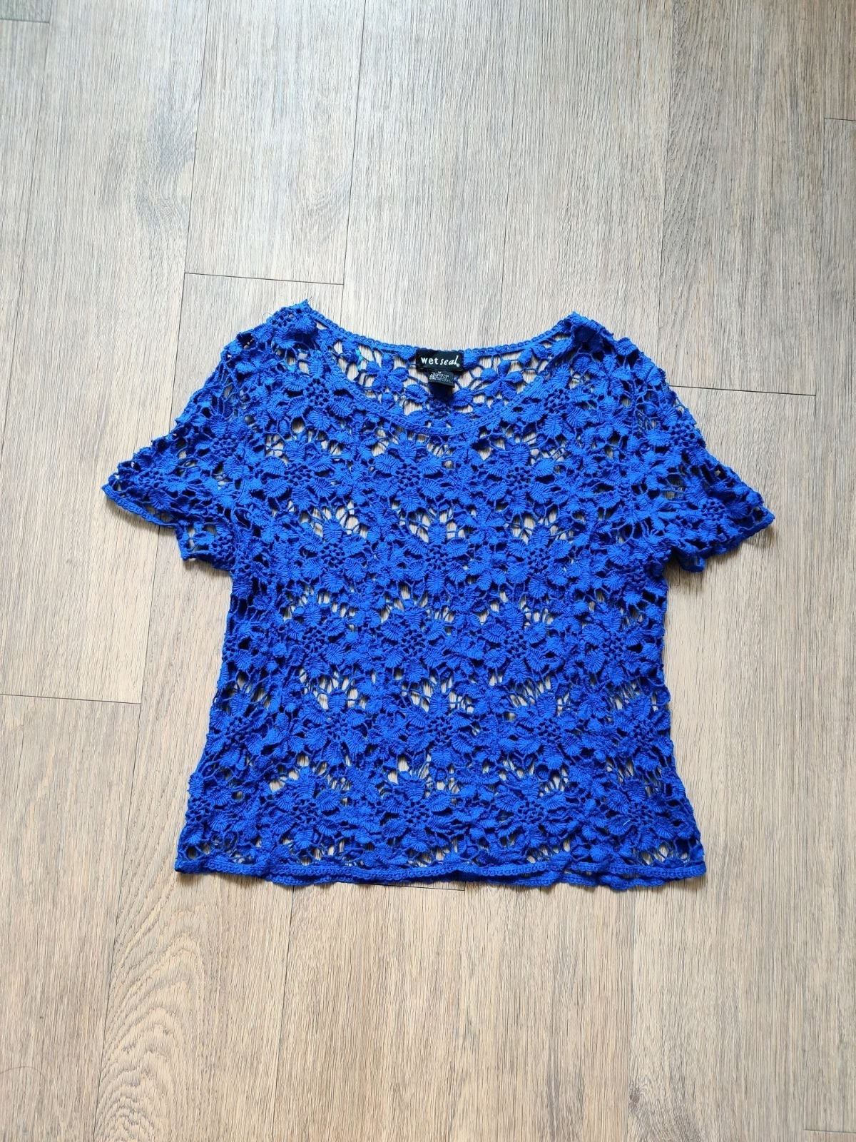 Wet Seal Blue Crochet Top