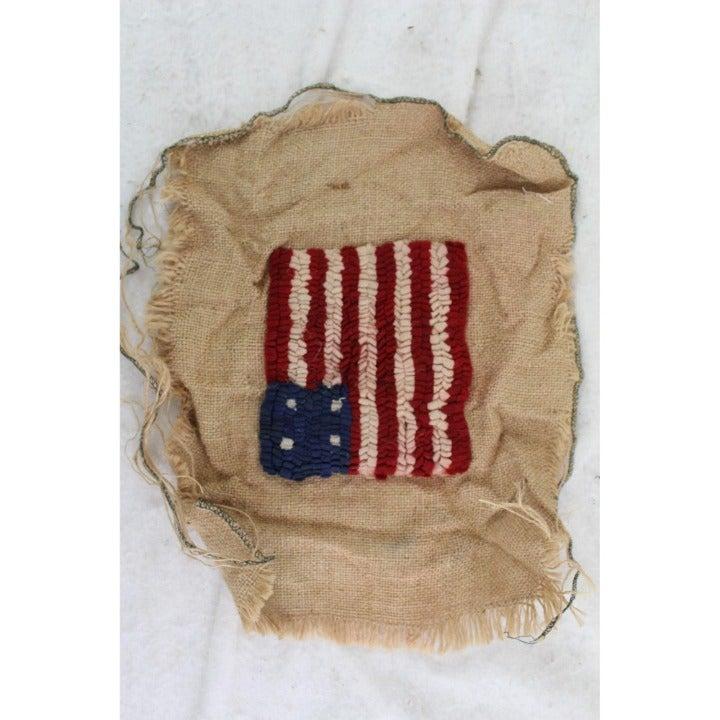 Handmade rug hooked American flag sample