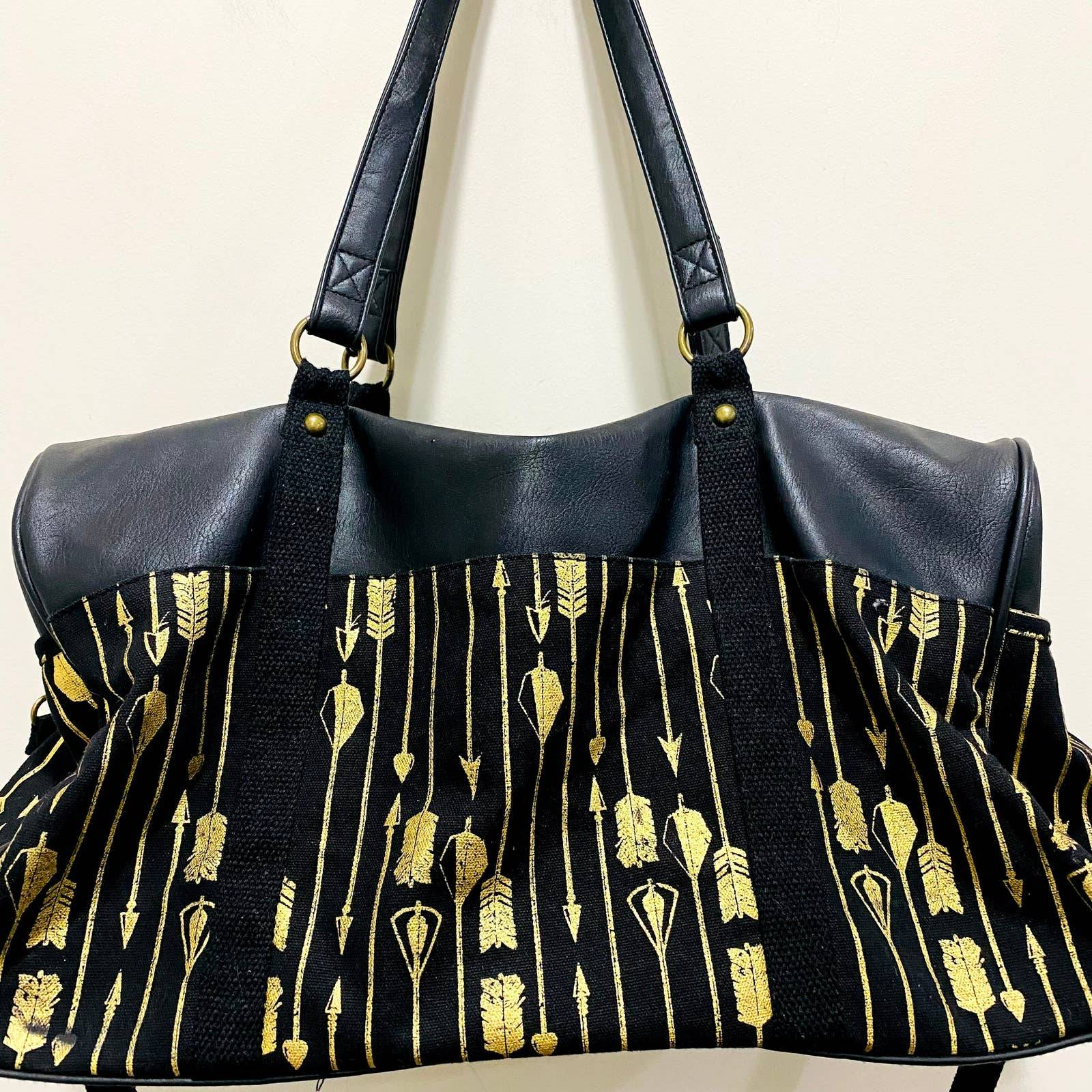 Black & Gold Arrow Print Boho Duffle Bag