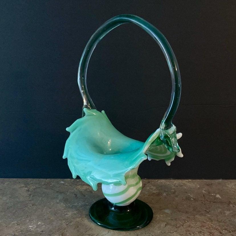 Vintage Art Glass Basket