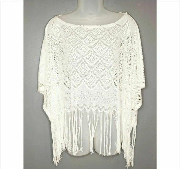 Black poppy white crochet lace shawl