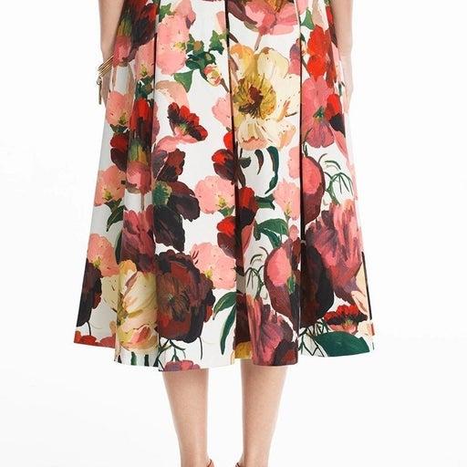 White House Black Market Floral Midi Skirt