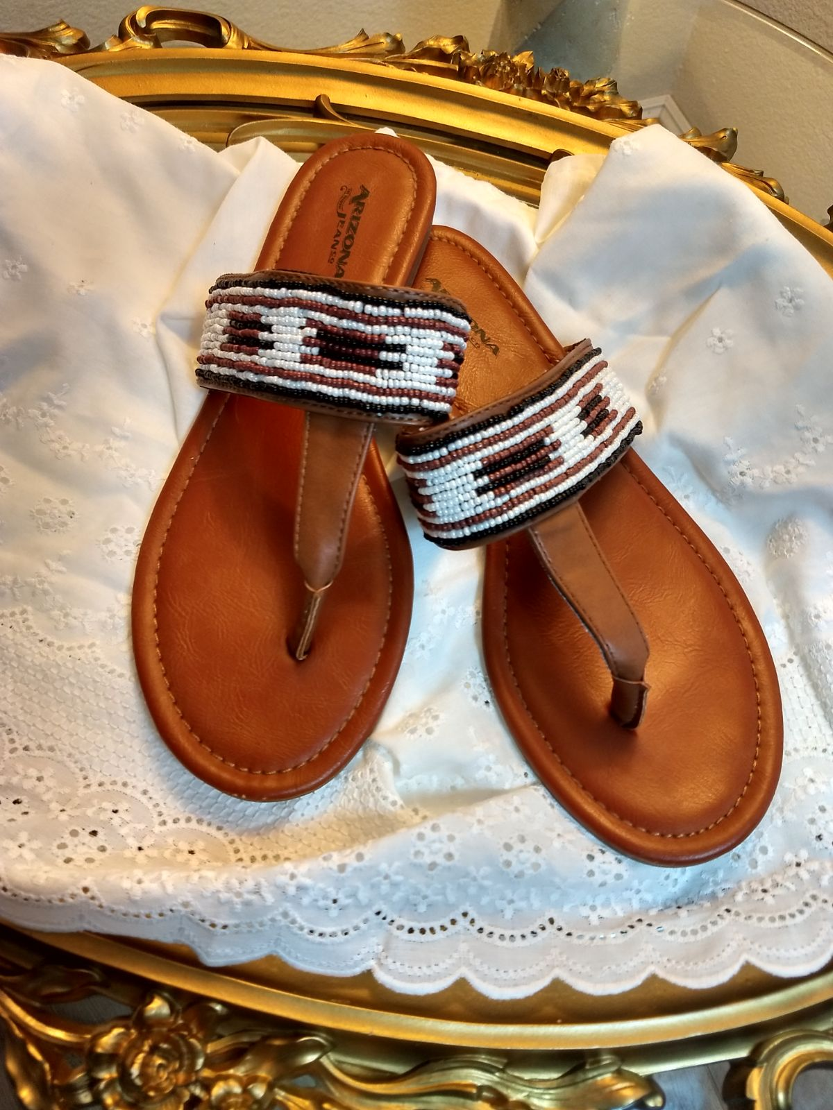 Woman's Beaded slide sandals