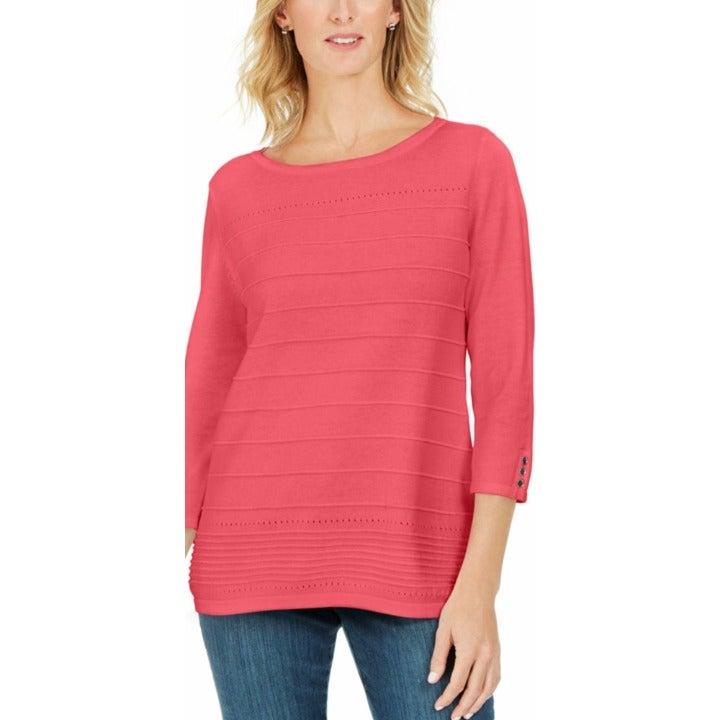 Karen Scott NEW Coral Soft Lightweight 3/4 Sleeve Sweater Top Small