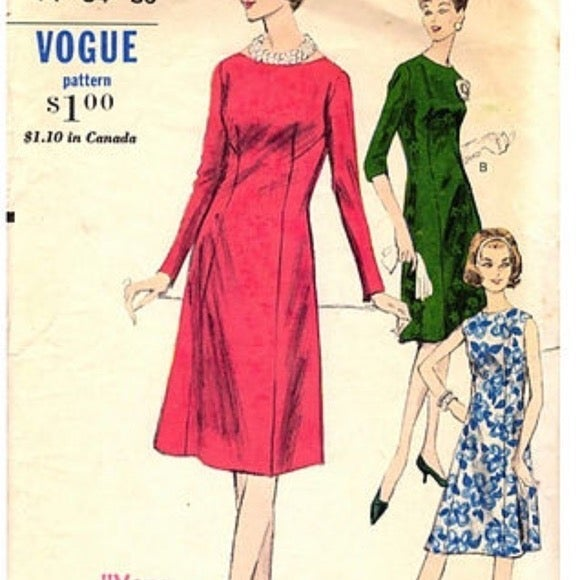 Pattern Vogue Fitted Dress 1950s #5814