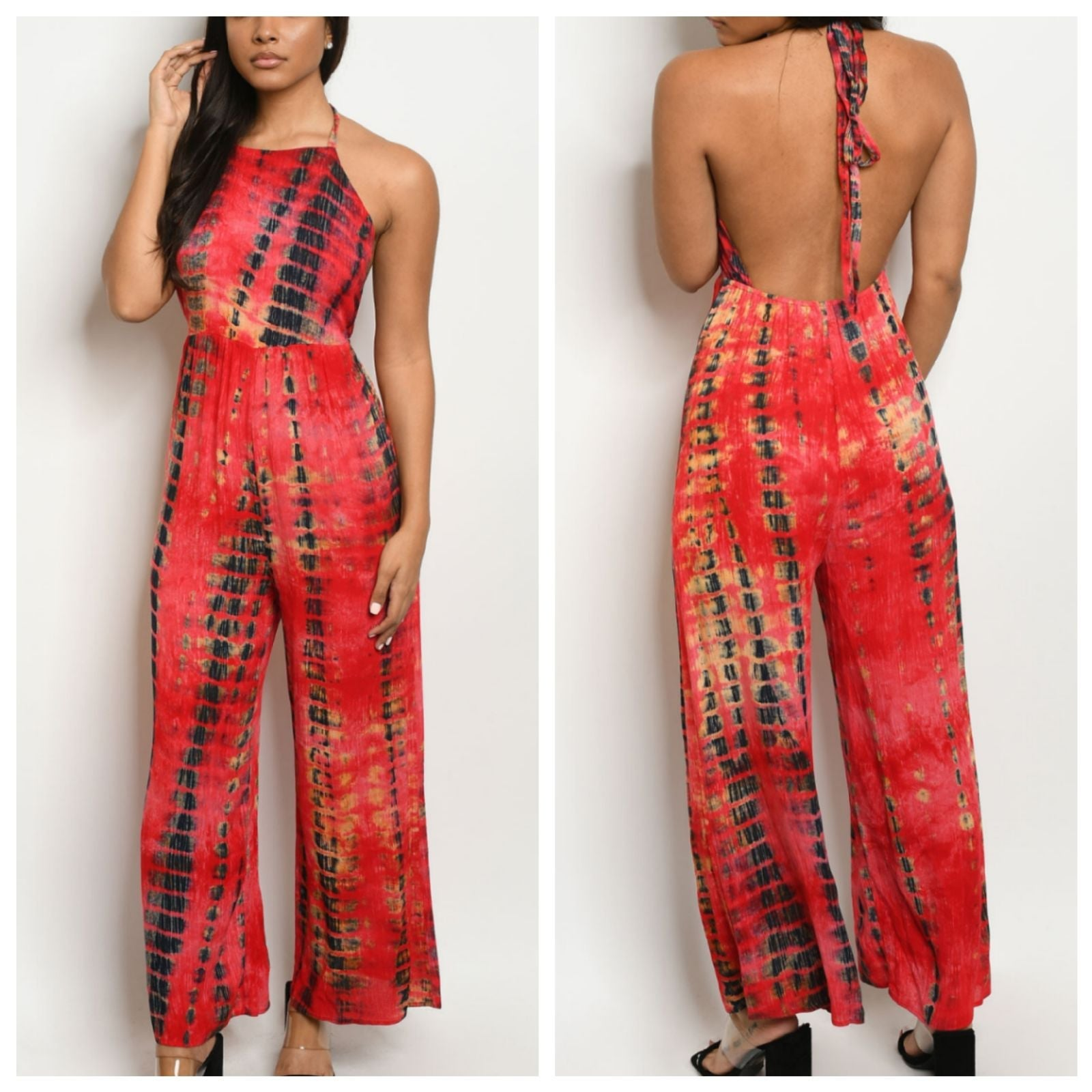 Red Tie Dye Backless Flare Leg Jumpsuit