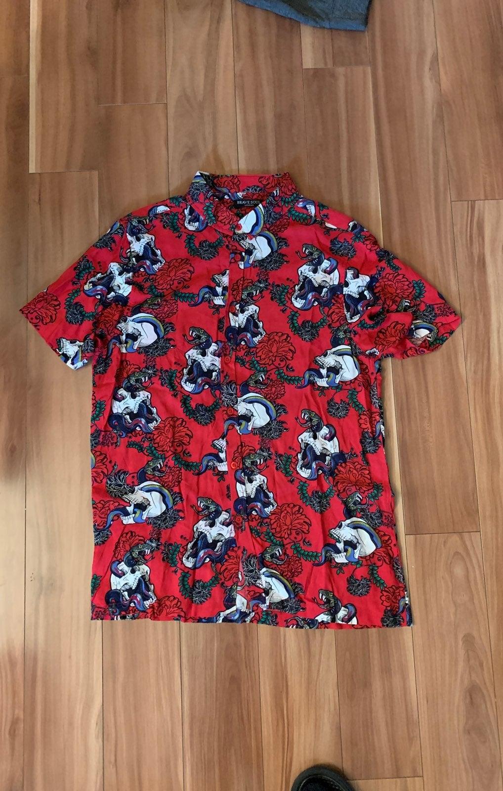 Men Red Skulls Shirt Viscose Medium