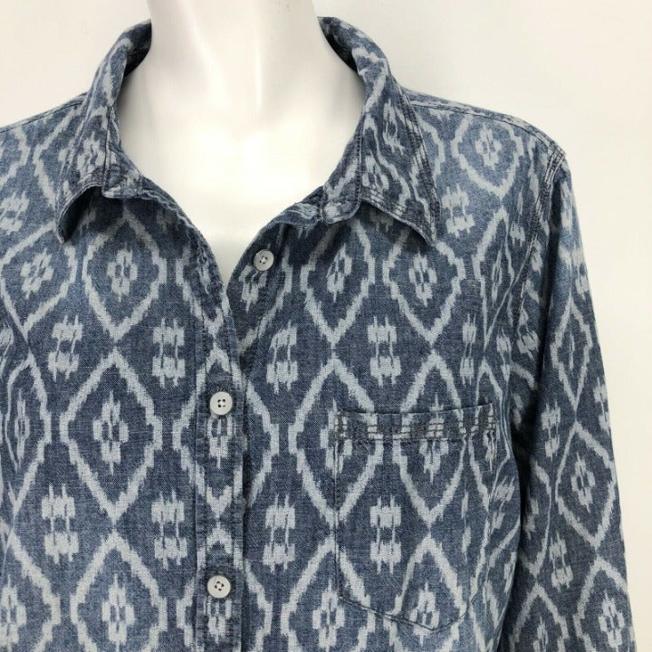 JC Penney Chambray Denim Shirt Womens 1X Diamond Print Button Front Casual Plus