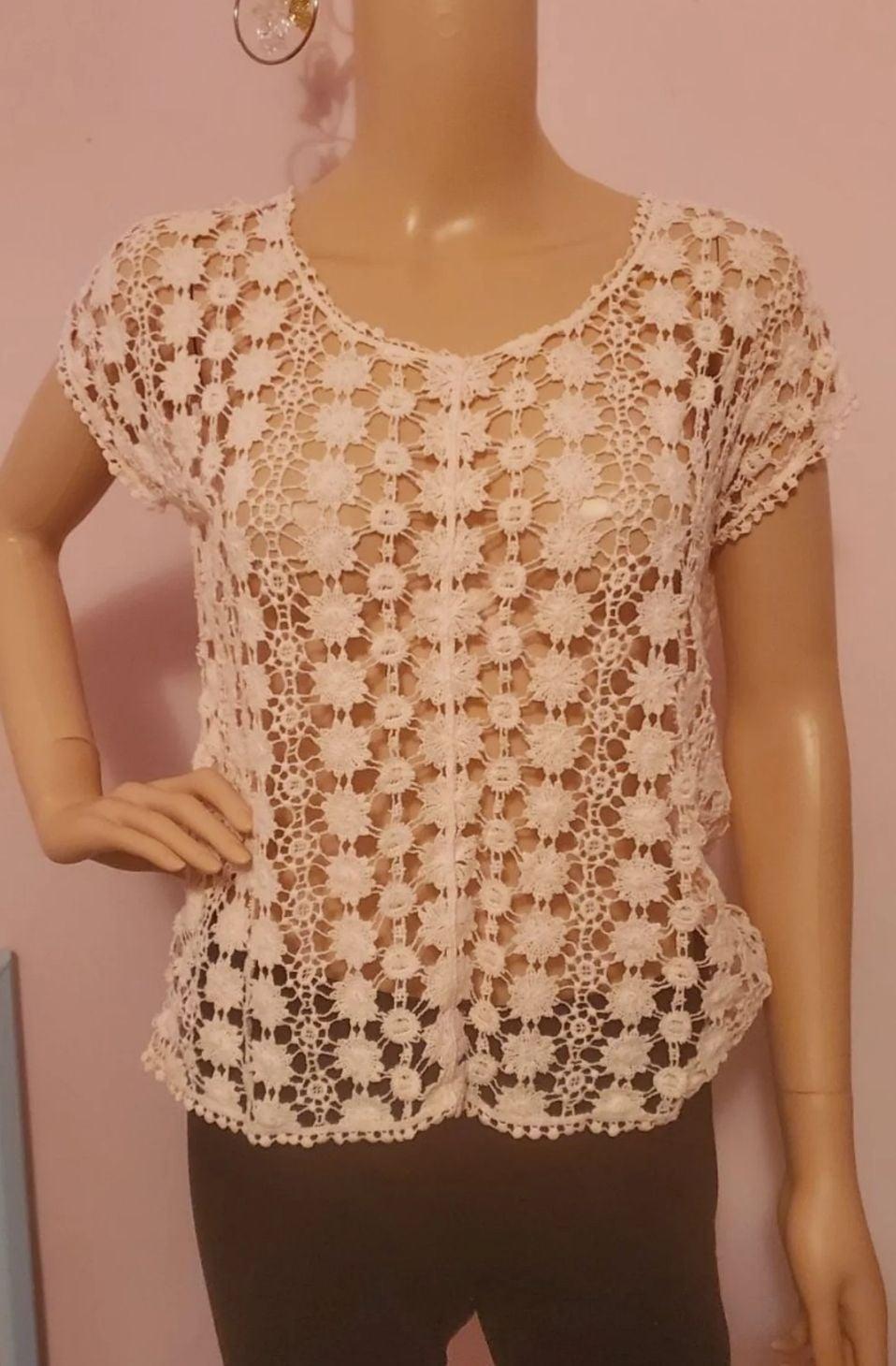 Lauren Conrad Pink Crochet Top