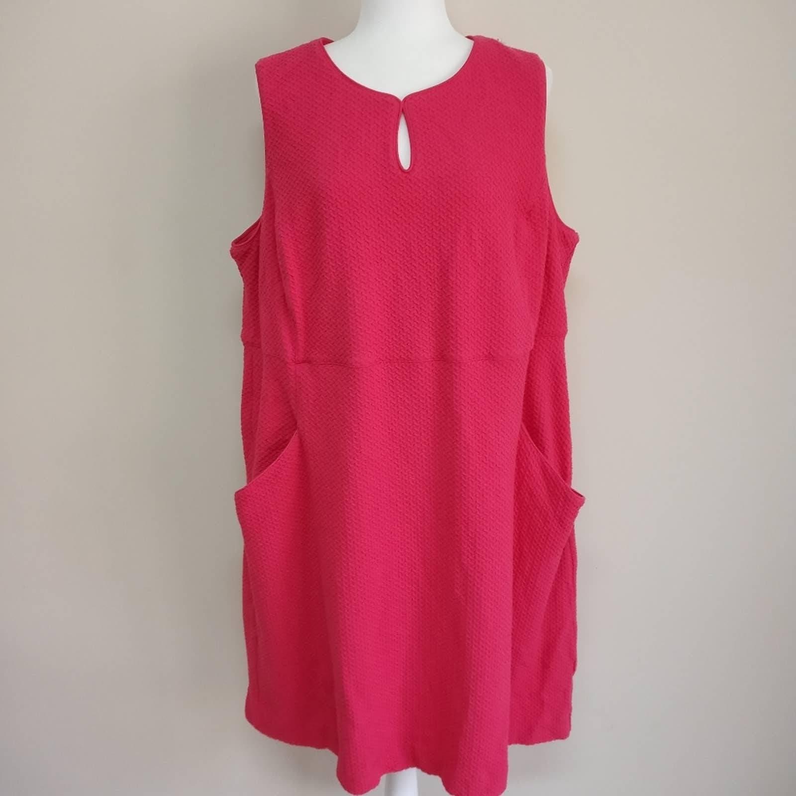 Land's End Pink Sheath Dress Stretchy