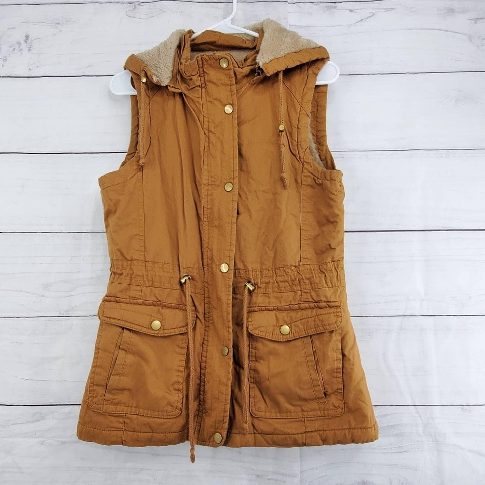 YMI faux fur lining utility vest jacket