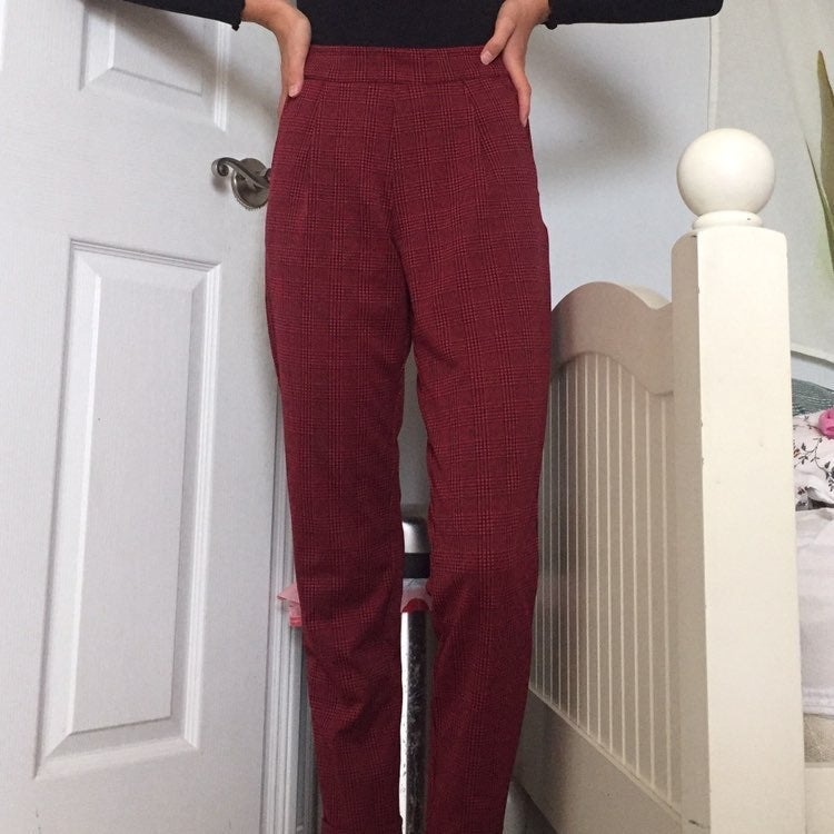 trendy black and white plaid pants