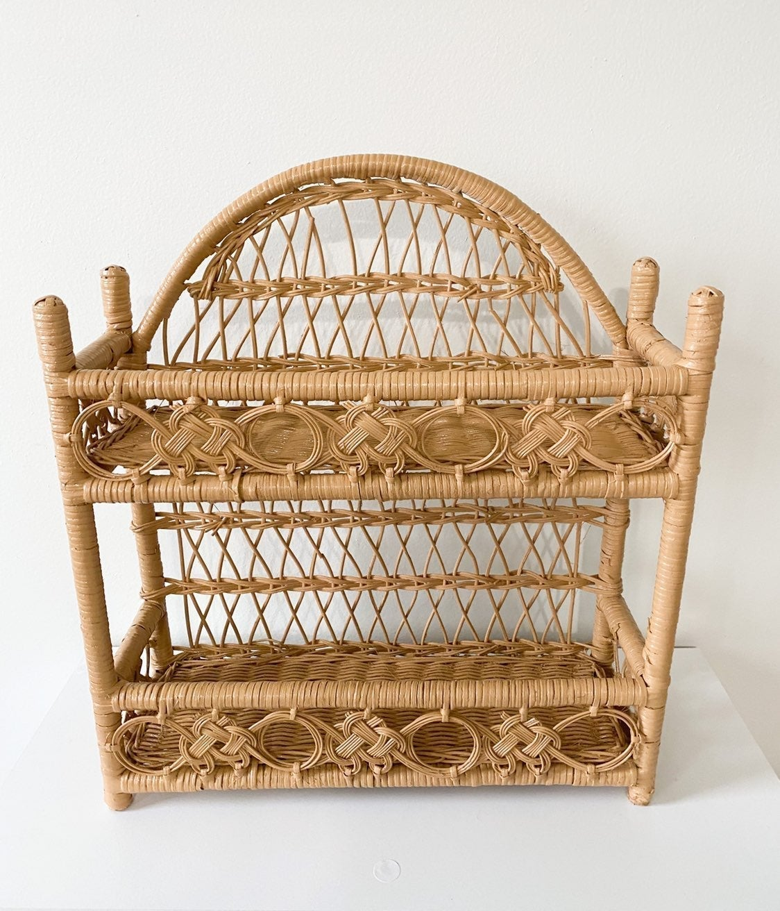 Boho rattan wicker shelf