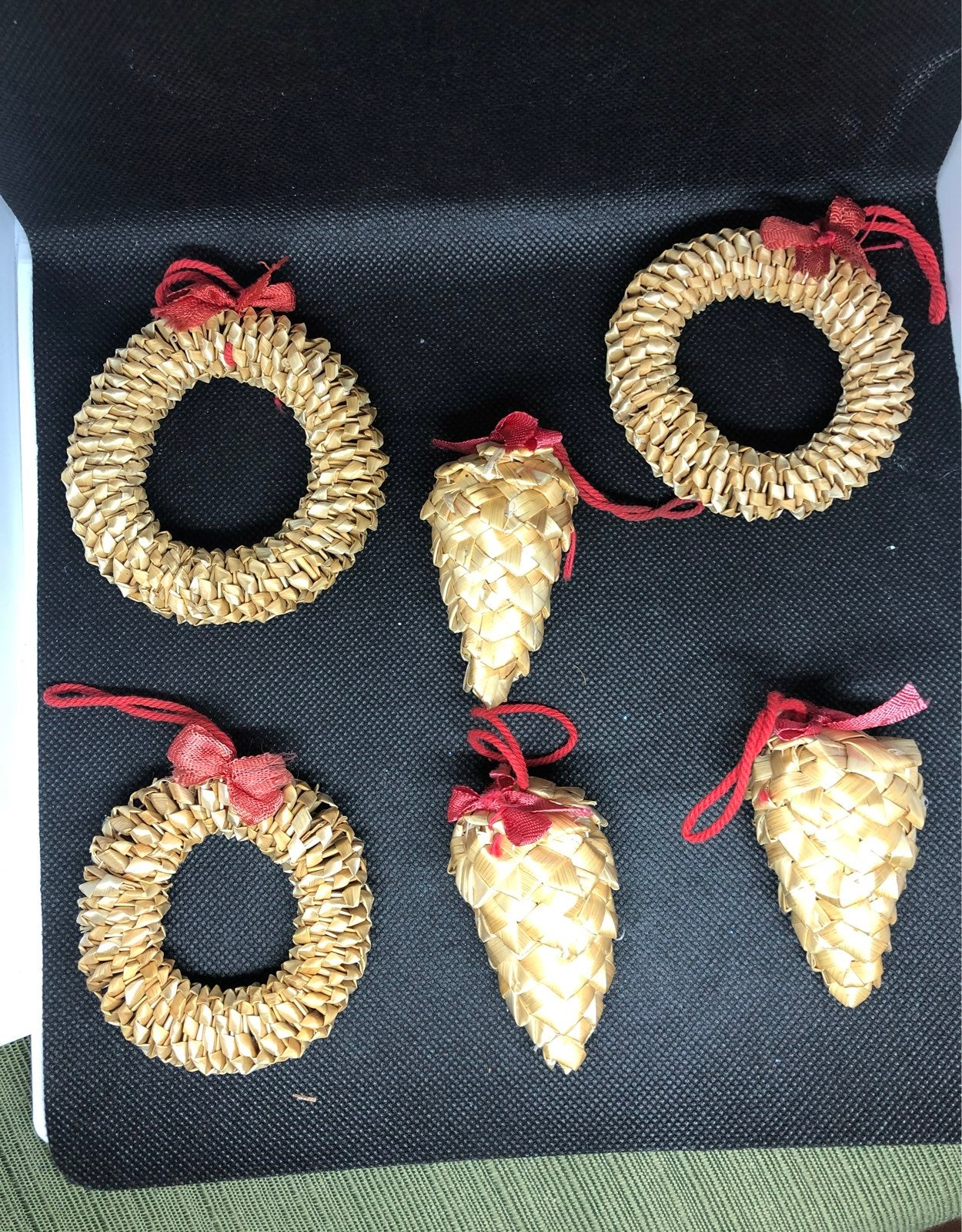 6 vintage woven straw Christmas ornament