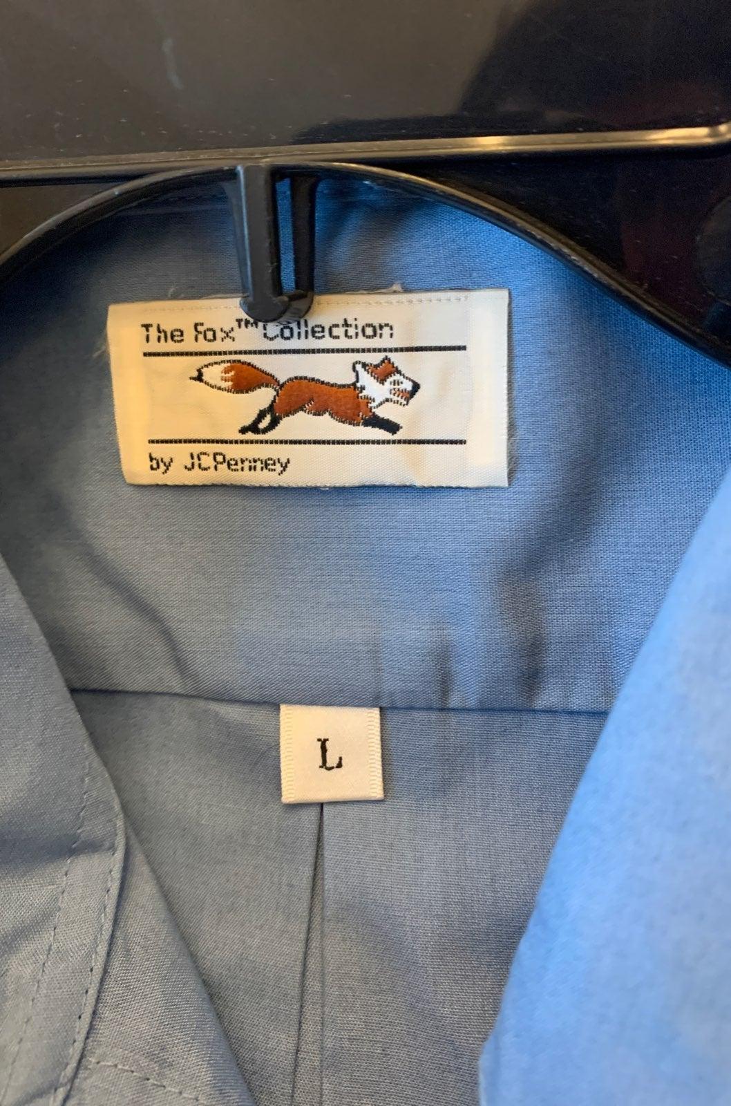 Blue short sleeve collared shirt The Fox