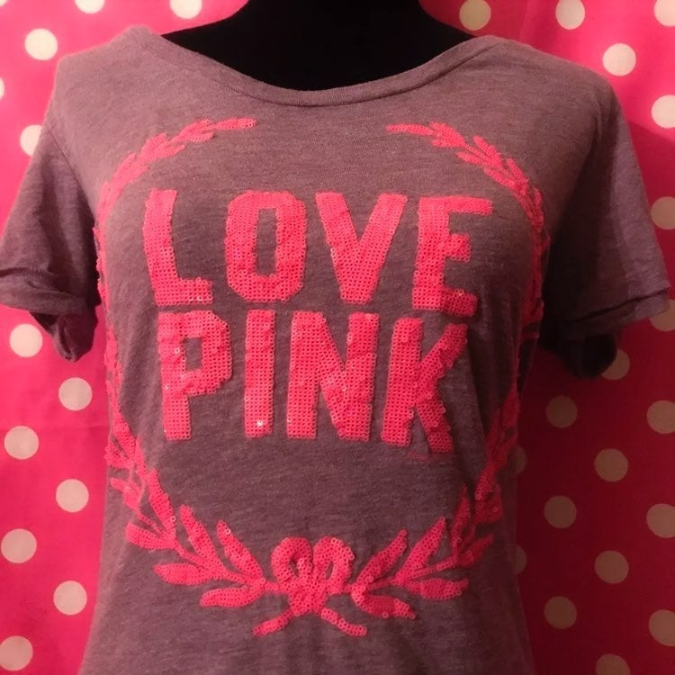 VS PINK Sequins Bling Campus T-shirt