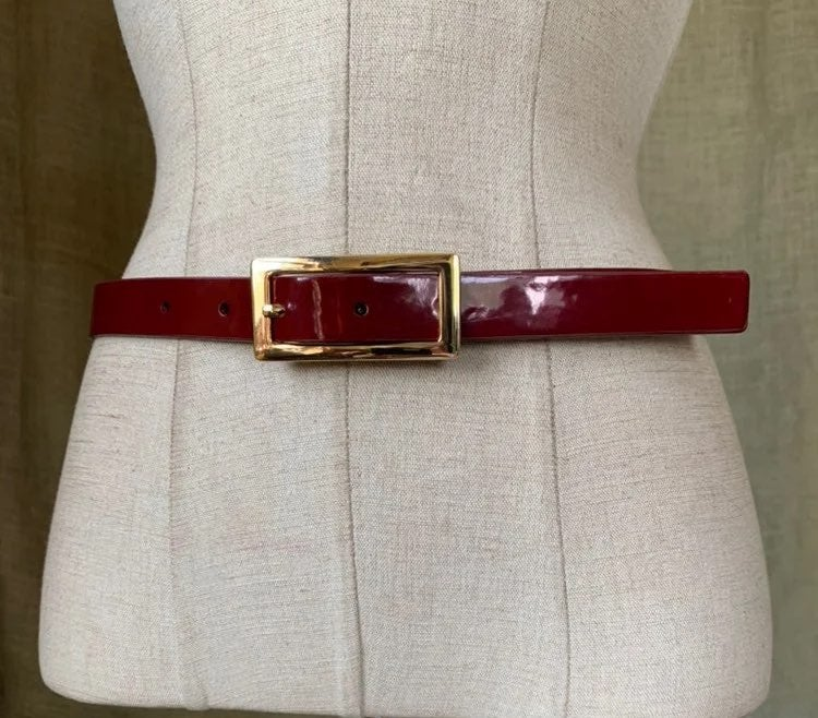 Talbots patent leather red dress belt M