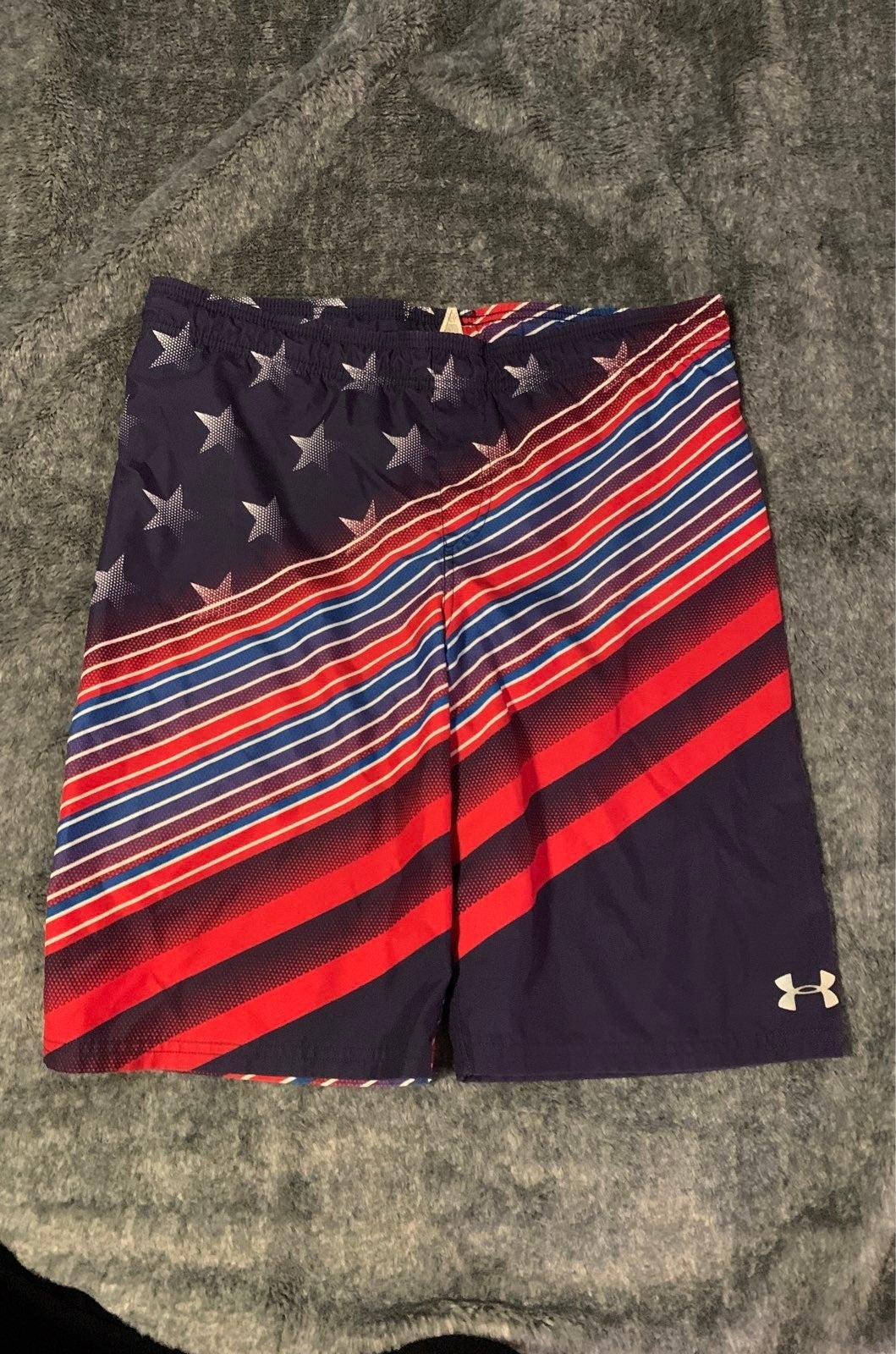 Boys Under Armour patriotic swim trunks