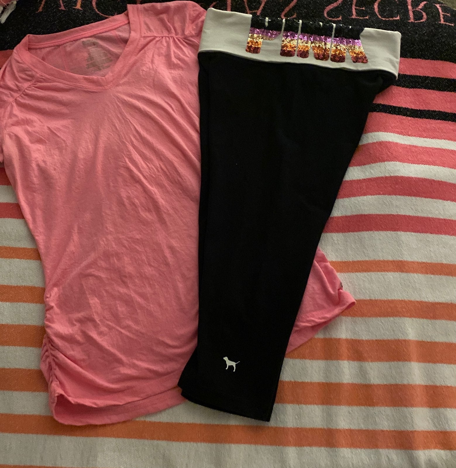 VS pink ombre bling leggings set SM