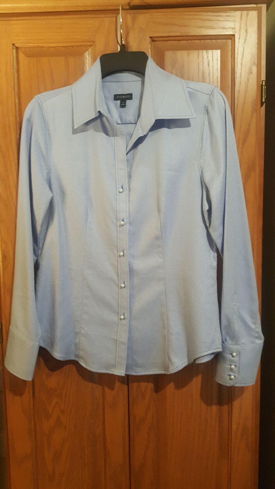 Talbots Women's Blue/White Striped Shirt