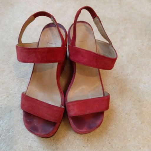 BCBG Red Italian Suede Sandals Size 6