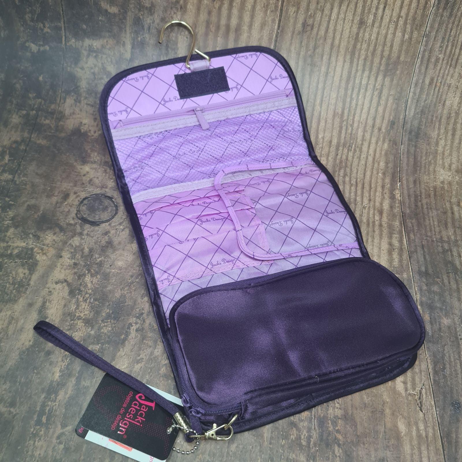 Purple foldover cosmetic travel bag