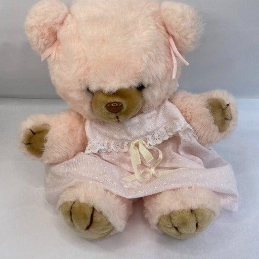 Vintage Plush Bear Pastel Pink Rare
