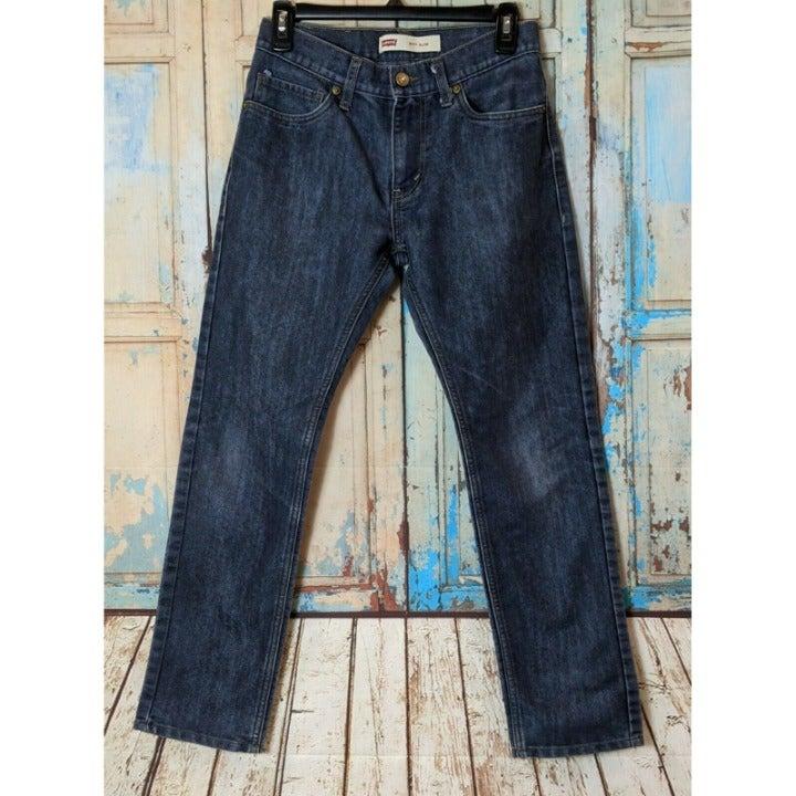 Levis Slim Boys Size 16 Reg 28 X 28 Blue Gray 5 Pocket Denim Jeans Pants