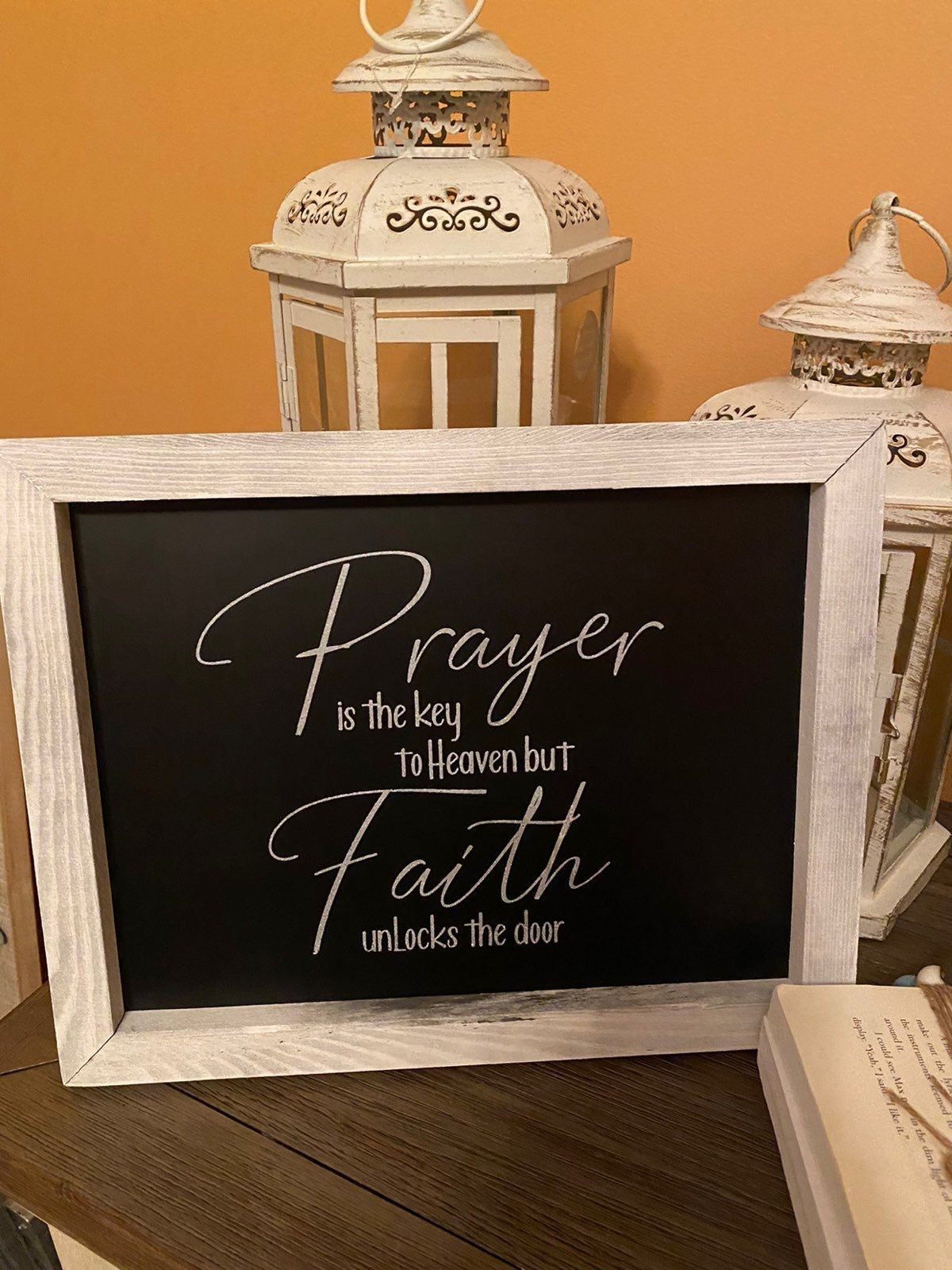 Prayer sign made with magnolia/chalk cou