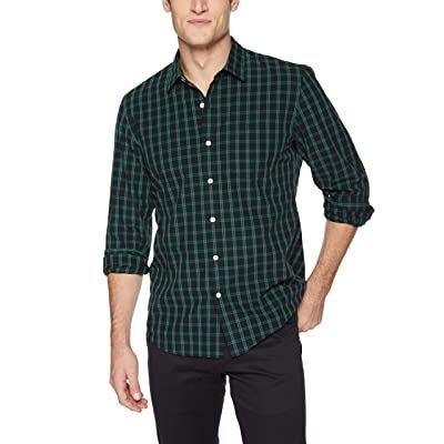 Goodthreads Men's Standard-Fit Long-Sleeve Plaid Poplin Shirt, black/green check