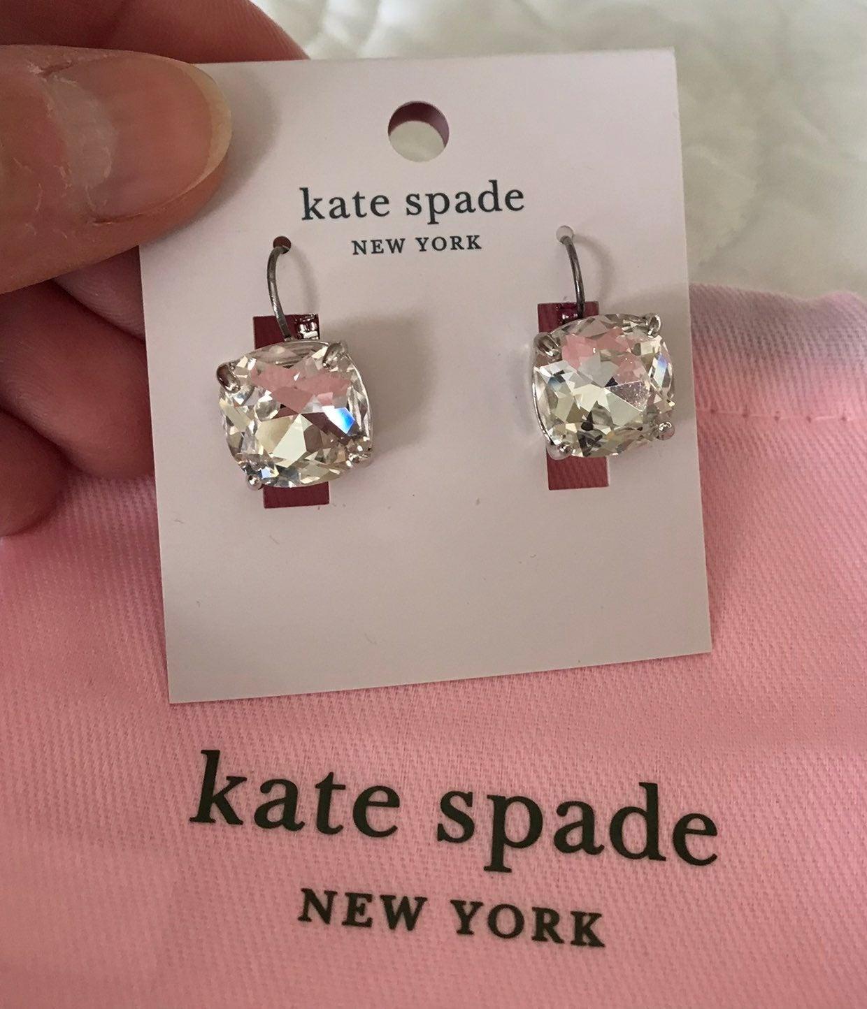 NWT Kate Spade CLEAR SQUARE CZ EARRINGS