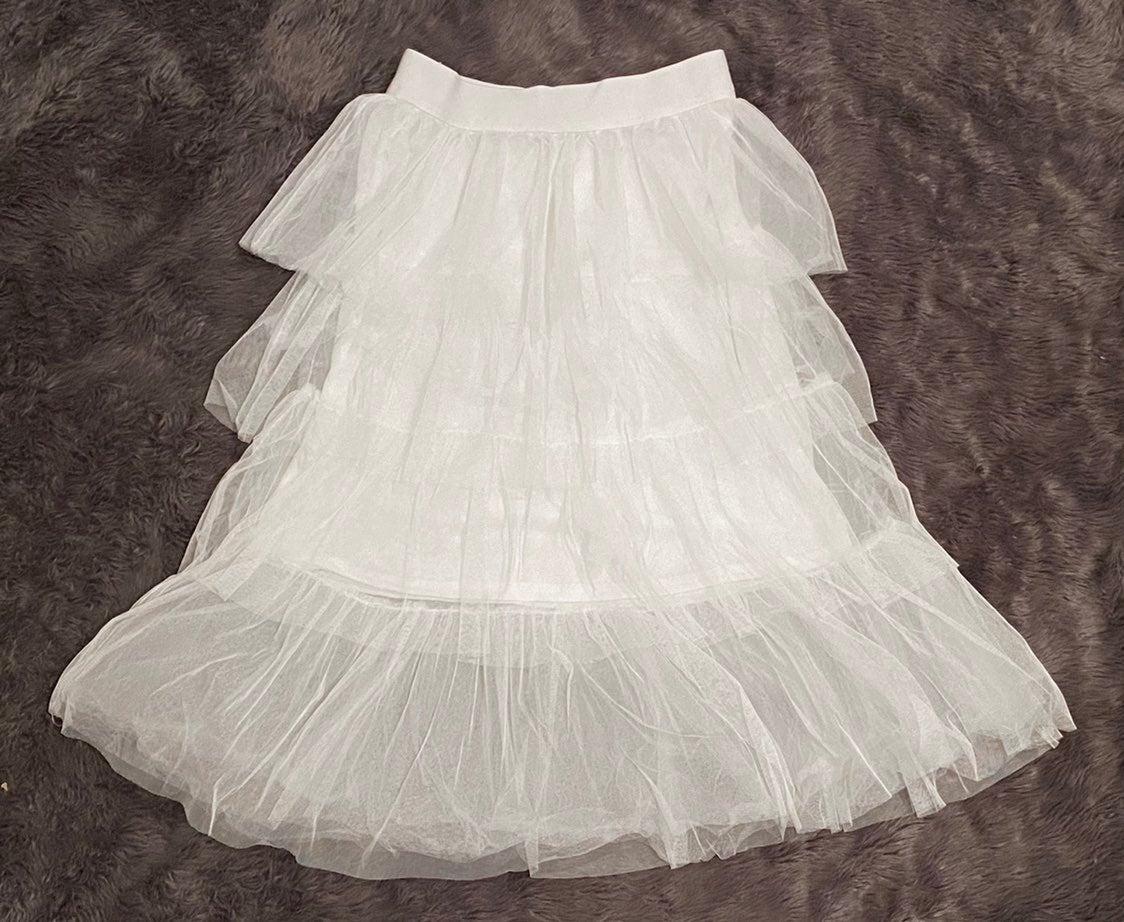 Tiered White Midi Ruffle Mesh Skirt
