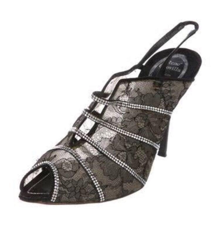 NEW Rene Caovilla Embellished Lace Heels