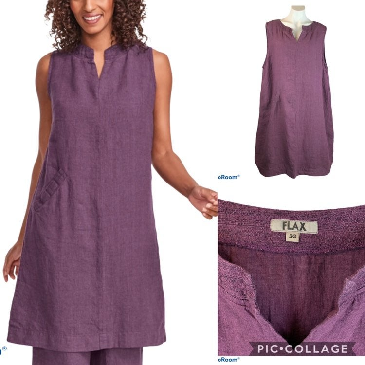New FLAX Charming Linen Dress 2G 2X Port