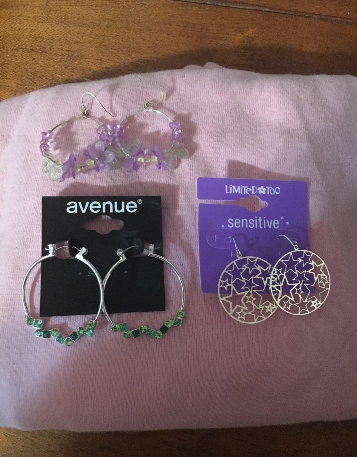 A bundle of pierced earrings
