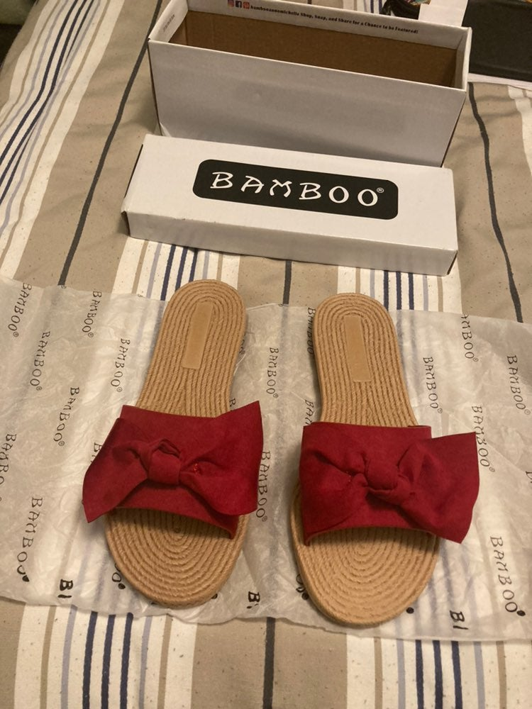 Brand new red bow slide sandals