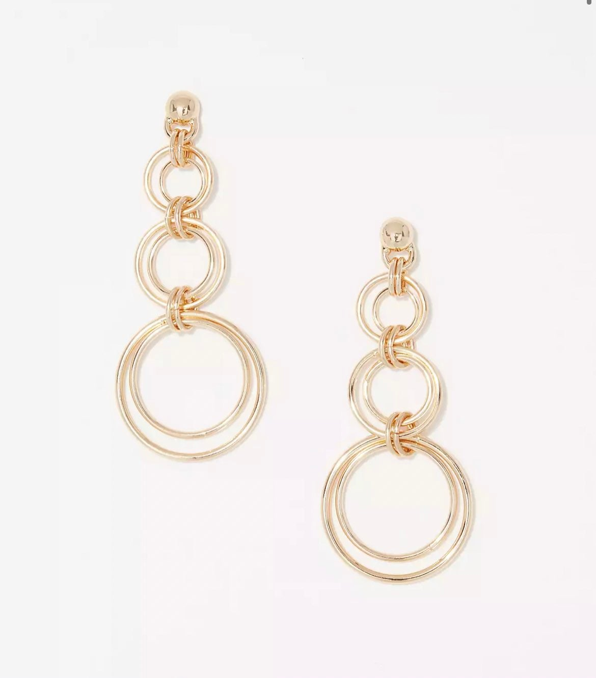 NWT LOFT Gold Circle Drop Earrings