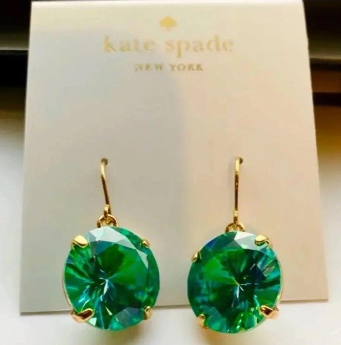 Kate Spade shine on deep green earrings