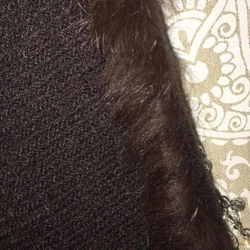 Long Rabbit Fur Trimmed Shawl