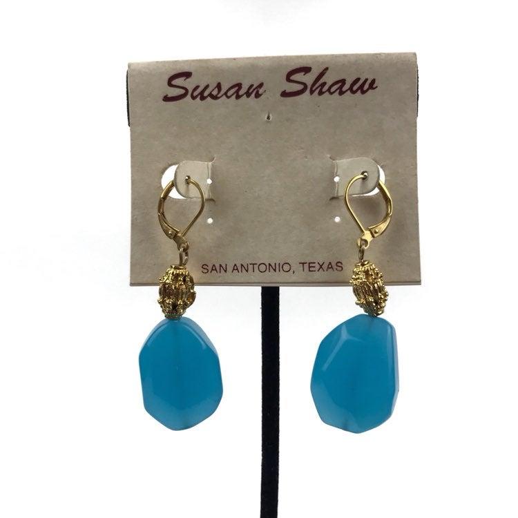 VTG Susan Shaw Ocean Blue Glass Earrings
