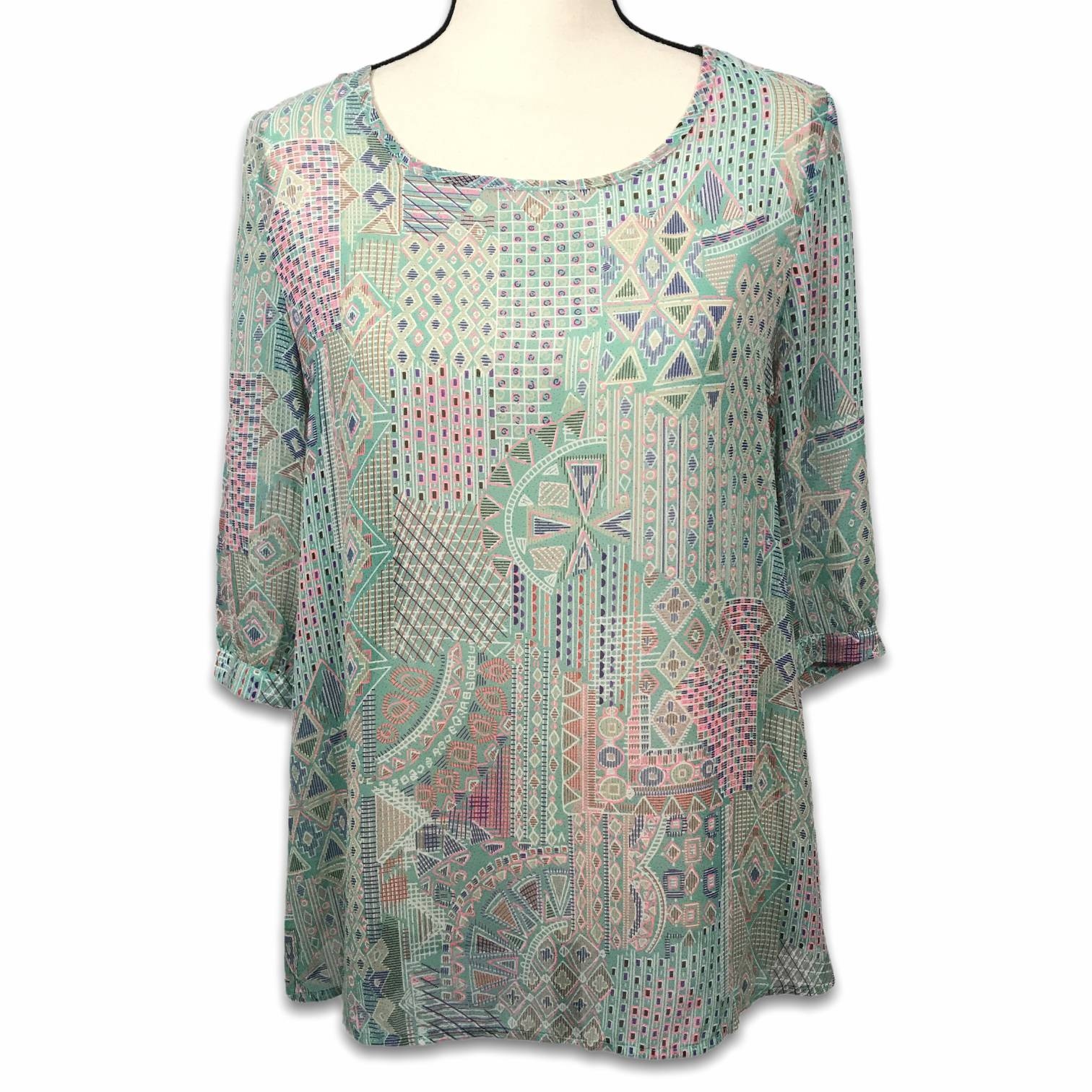 Pink Owl pink green sheer tunic