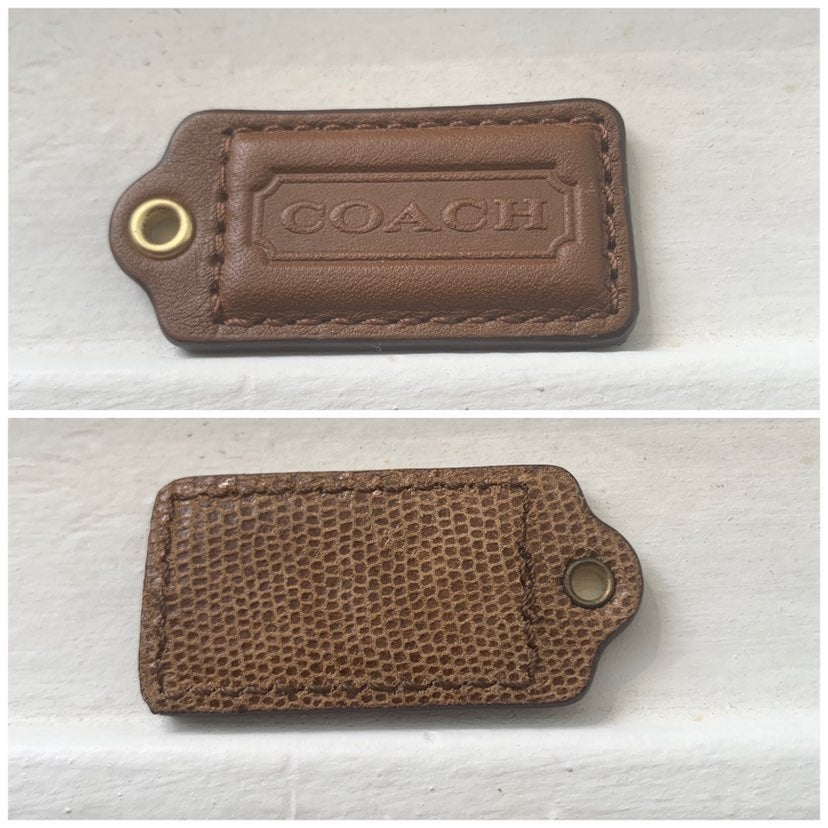 Coach Brown Animal Texture Leather Tag